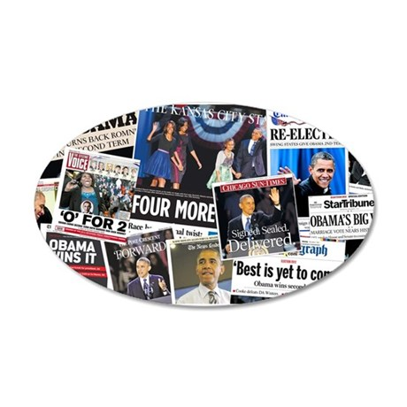 Obama Wins 2012 Newspaper 35x21 Oval Wall Decal
