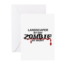Landscaper by Day Zombie by Night Greeting Cards (