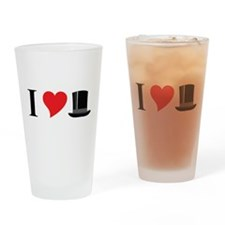I Love Tophats Drinking Glass