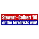 Stewart - Colbert '08 or the terrorists win! decal