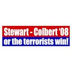 Stewart - Colbert '08 or the terrorists win! decal