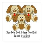 No Evil Puppies Square Car Magnet 3