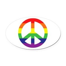 Big Rainbow Stripe Peace Sign Oval Car Magnet