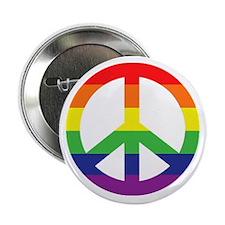 "Big Rainbow Stripe Peace Sign 2.25"" Button"