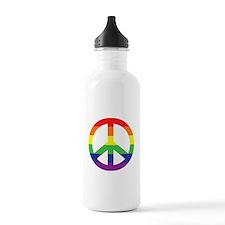 Big Rainbow Stripe Peace Sign Water Bottle
