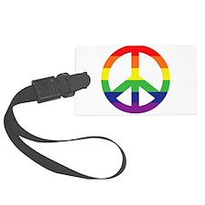 Big Rainbow Stripe Peace Sign Luggage Tag