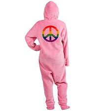 Big Rainbow Stripe Peace Sign Footed Pajamas