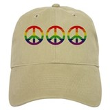 Big Rainbow Stripe Peace Sign Baseball Cap