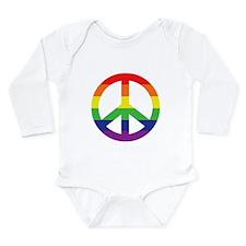 Big Rainbow Stripe Peace Sign Long Sleeve Infant B