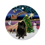Xmas Magic & Black Pom Ornament (Round)