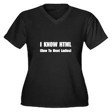 Know HTML Women's Plus Size V-Neck Dark T-Shirt