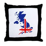 Great Britain UK map flag Throw Pillow