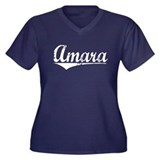 Amara, Vintage Women's Plus Size V-Neck Dark T-Shi