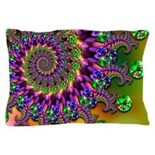 Green Purple Fractal Pattern Pillow Case