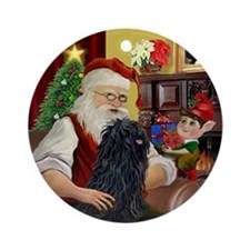 Santa at home with his Puli Ornament (Round)