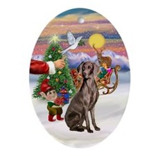 Santa's Treat for his Weimaraner Oval Ornament