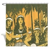 Hawaiian Ukelele Girls Shower Curtain