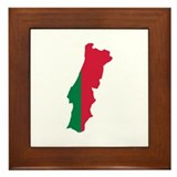 Portugal map flag Framed Tile
