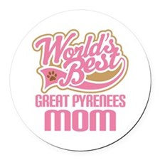 Great Pyrenees Mom Round Car Magnet