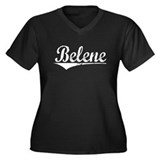 Belene, Vintage Women's Plus Size V-Neck Dark T-Sh