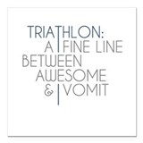 "Triathlon Awesome Vomit Square Car Magnet 3"" x 3"""
