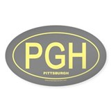 Pittsburgh - Gold on Black Oval - Decal