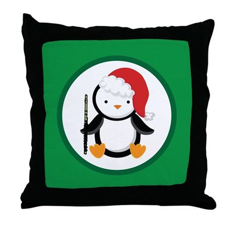 Christmas Flute Penguin Throw Pillow