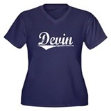 Devin, Vintage Women's Plus Size V-Neck Dark T-Shi