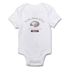 Grey Kind of Day Baby Bodysuit - Red
