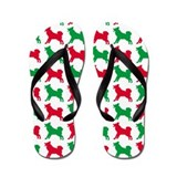 Malamute Christmas or Holiday Silhouette Flip Flop