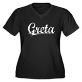 Greta, Vintage Women's Plus Size V-Neck Dark T-Shi
