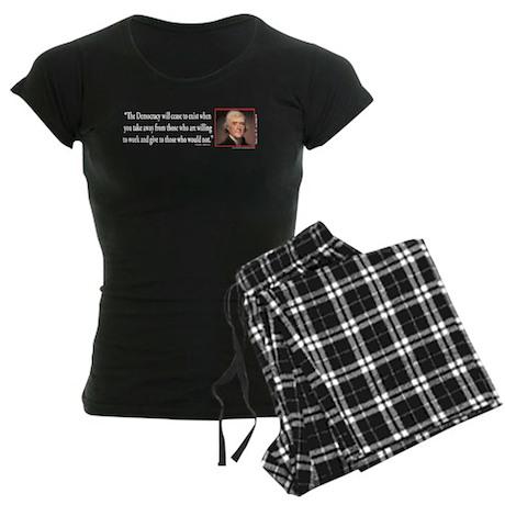 Thomas Jefferson on Democracy Women's Dark Pajamas
