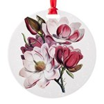 Pink Magnolia Flowers Round Ornament
