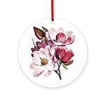Pink Magnolia Flowers Ornament (Round)