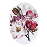 Pink Magnolia Flowers Ornament (Oval)