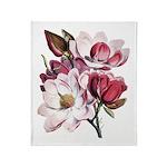 Pink Magnolia Flowers Throw Blanket