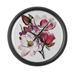 Pink Magnolia Flowers Large Wall Clock