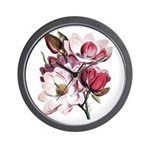 Pink Magnolia Flowers Wall Clock