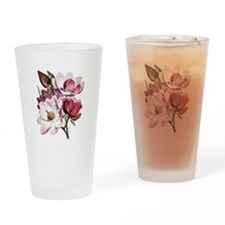 Pink Magnolia Flowers Drinking Glass