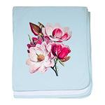 Pink Magnolia Flowers baby blanket
