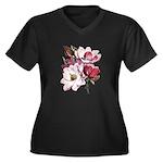 Pink Magnolia Flowers Women's Plus Size V-Neck Dar
