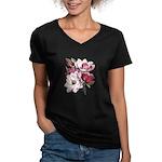 Pink Magnolia Flowers Women's V-Neck Dark T-Shirt