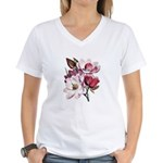 Pink Magnolia Flowers Women's V-Neck T-Shirt