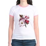 Pink Magnolia Flowers Jr. Ringer T-Shirt