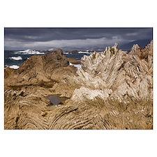 Folded limestone layers, Kaikoura, North Canterbur