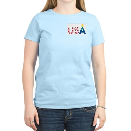 USA Christmas: Women's Pink T-Shirt