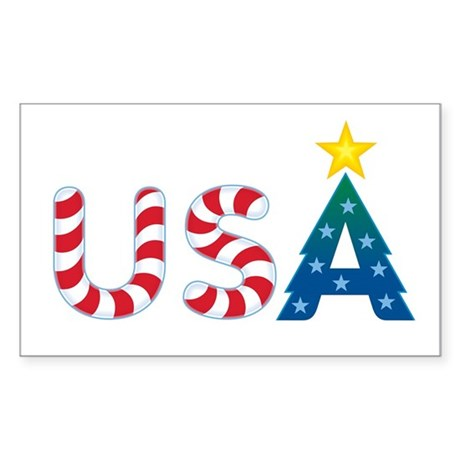 USA Christmas: Rectangle Sticker