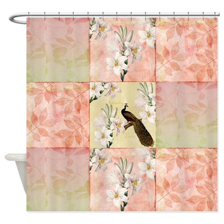 peach peacock and lilies shower curtain by be inspired by life