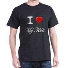 I Love My Kids White Letters T-Shirt