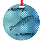 Three Fish Dots Round Ornament